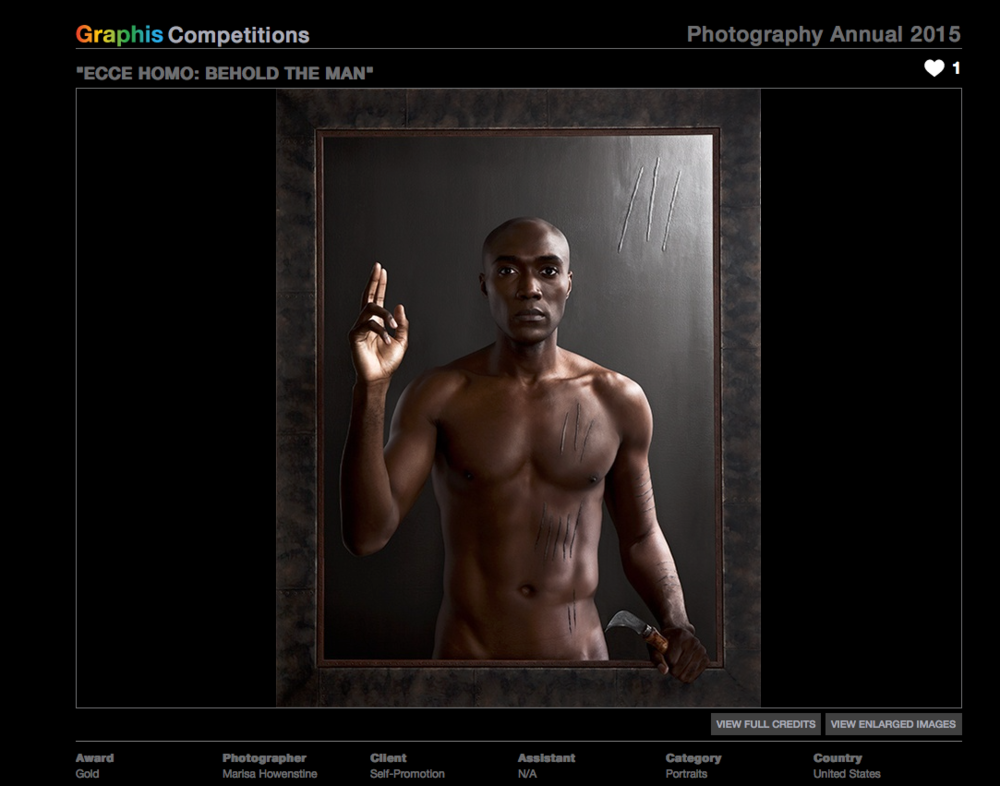 "Graphis 2015 Photography Annual: Gold Award for ""Ecce Homo: Behold the Man"""