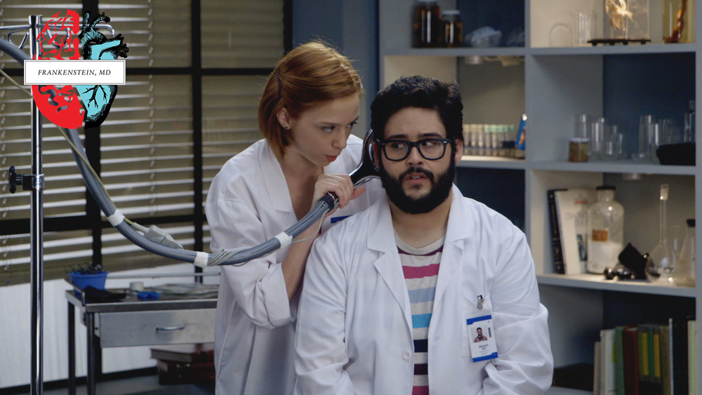 Victoria (Anna Lore) experiments with the brains of hapless Iggy (Steve Zaragoza)