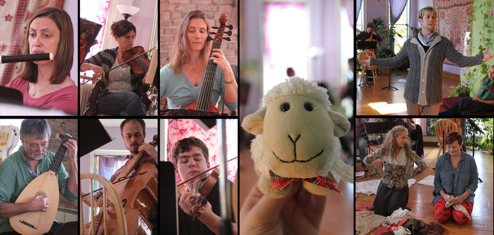 Images from rehearsals for the Bloomington Early Music Festival Performance, with special guest star, Pepe the Sheep!