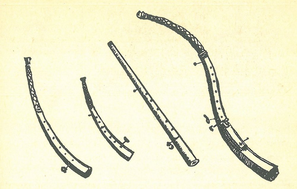 Various cornetts from the book by Michael Praetorius: Syntagma Musicum (1616–1620) From left to right: Curved, descant, mute, tenor. Image from:   mogensandresen.dk