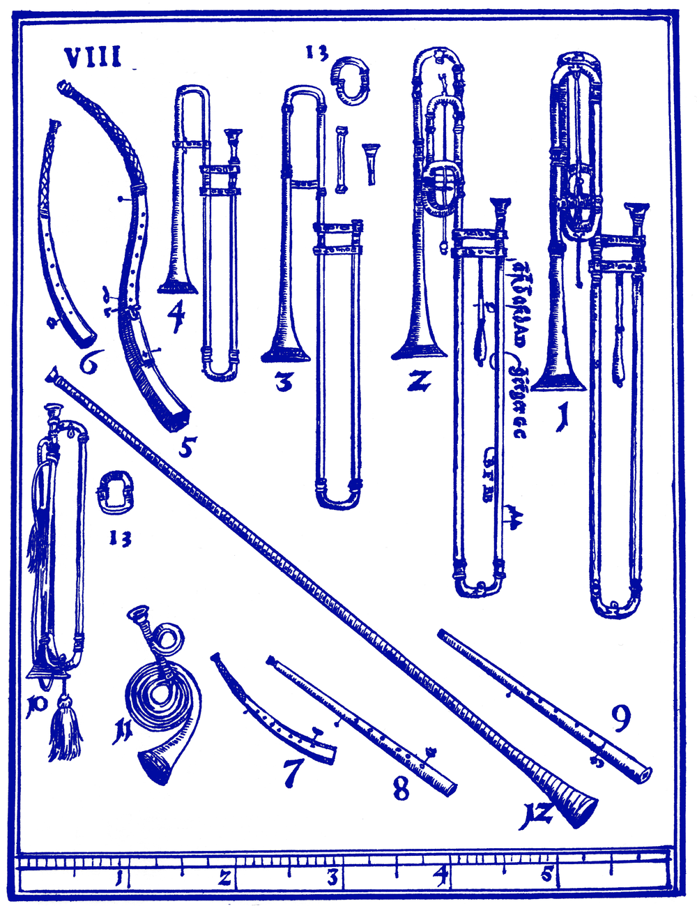 Check out the shots of the sackbuts (#1-4), alongside trumpets and cornetti. From  Syntagma Musicum  (1614-20) by Michael Praetorius.