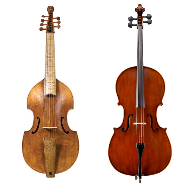 Viola da gamba  (left);  modern cello  (right)