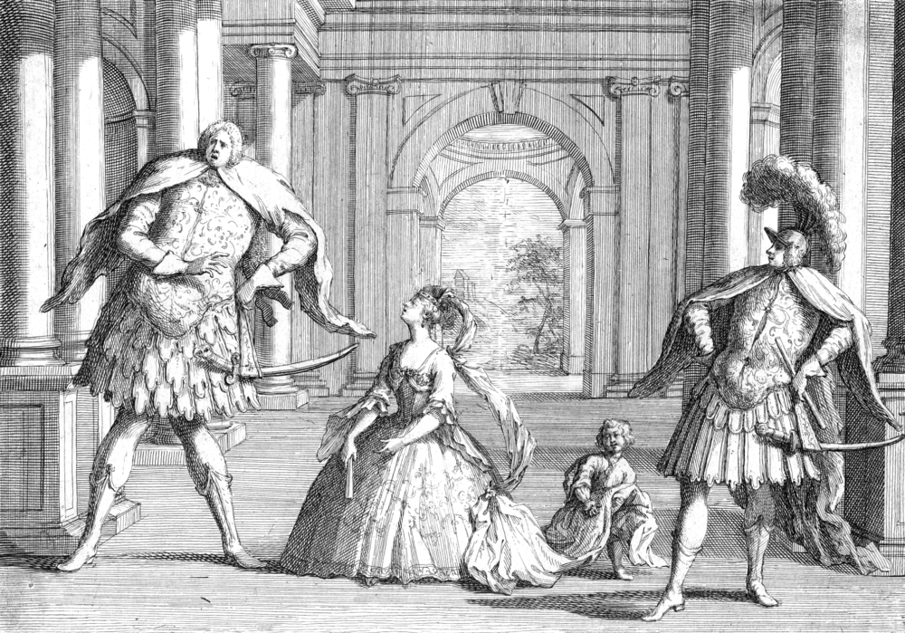 A famous sketching of the castrati Senesino (far left) and Berenstadt (far right) performing in Handel's opera, Flavio. The poor soprano, Francesca Cuzzoni, was dwarfed not only by their stature, but probably their egos!
