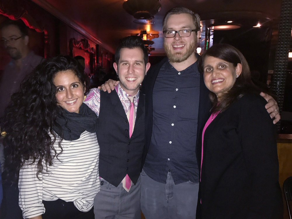Taken at The Green Mill, Thomas (center-left) performed Eric's Two Assyrian Songs for special guests Iman (far right) and her daughter Enanna (far left). Iman supplied the text for Eric's first song, and Enanna was Thomas' Assyrian diction coach.