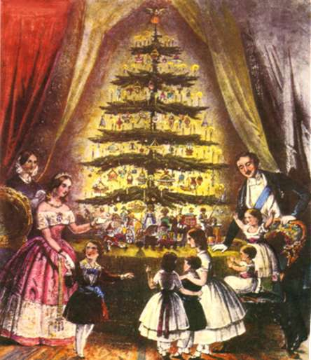 Queen Victoria popularized a number of Christmas traditions, including the German custom of decorating a fir tree, thanks to the invention of the magazine and this engraving found in Illustrated London News (1848).