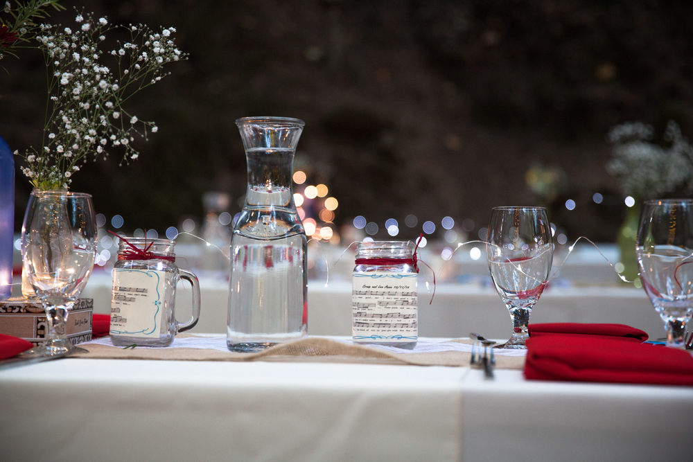Dainty Fairy lights laid all across the long tables made for subtle lighting all night.