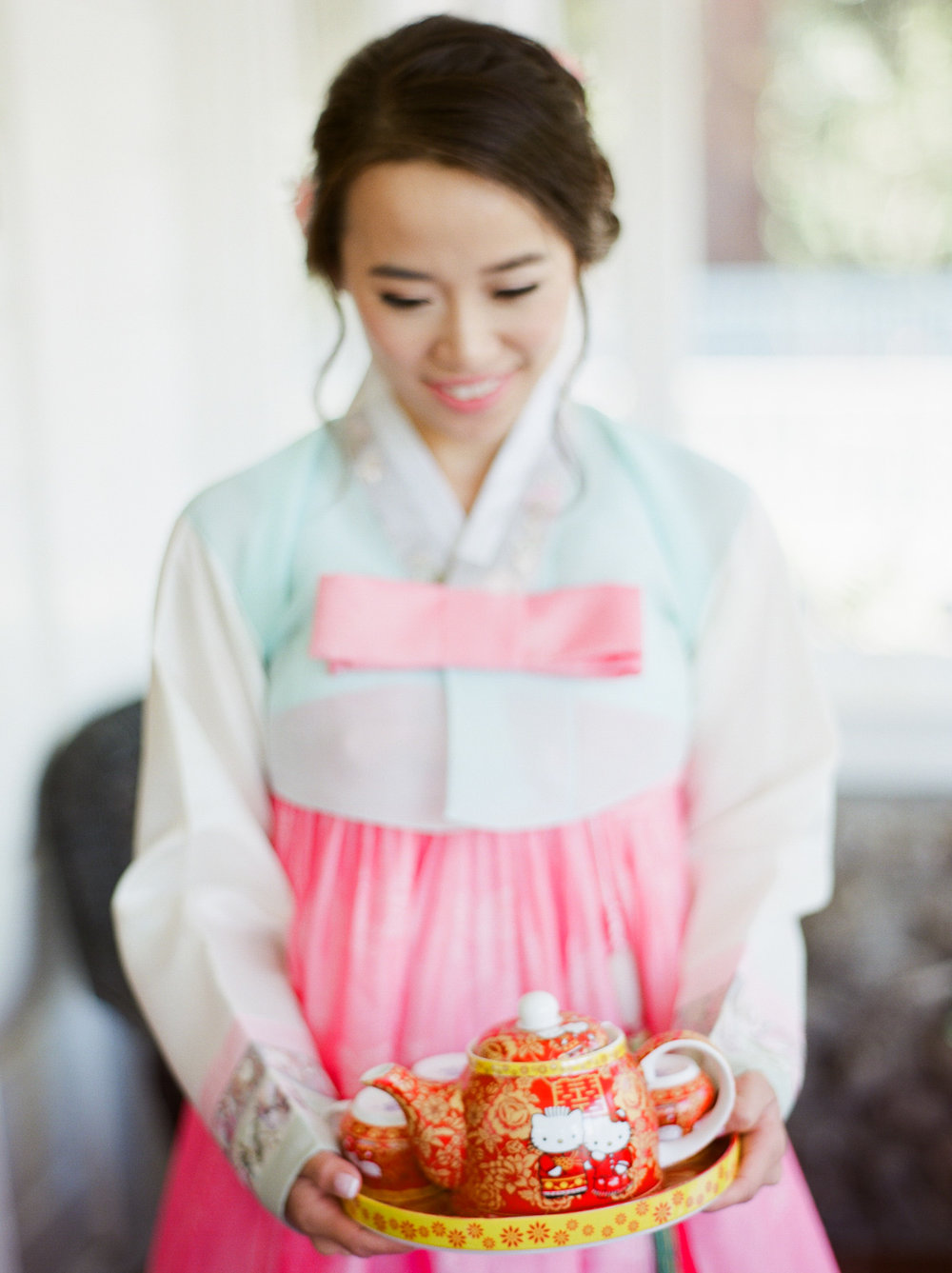 The Homestead Wedding Crockett, California Fine Art Wedding Photographer  - Hello Kitty Tea Pot - Tea Ceremony