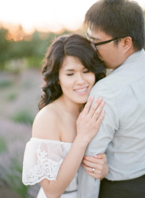 Romantic Lavender field Engagement Session | Sonoma Napa San Francisco Fine Art Film Photographer