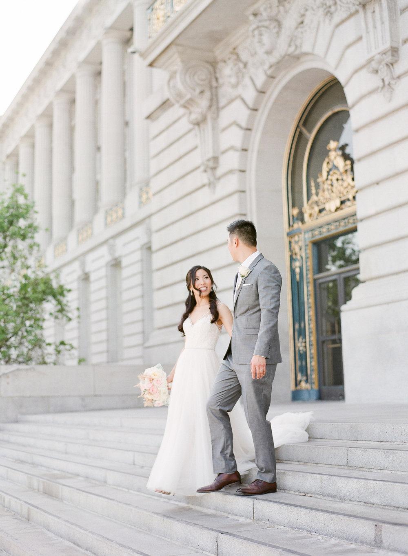San Francisco City Hall Elopement Wedding Fine Art Film Photographer - Romantic natural light wedding photos