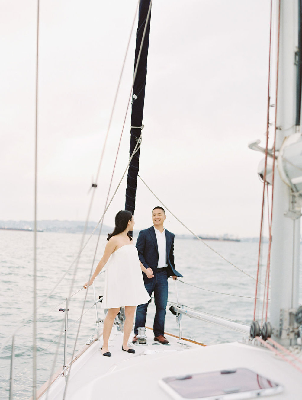 California Film Photographer Yacht Engagement session
