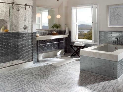 (1)Tub and Walls- Manhattan, Concrete 2×8, (2)Floor-Manhattan, Silk Linear Mosaic