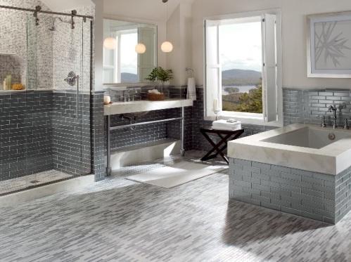 (1)Tub and Walls- Manhattan, Concrete 2×8, (2)Floor-Manhattan, Silk Linear Mosaic