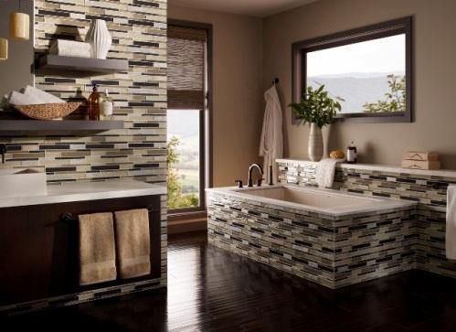 (1) elume, Boardwalk Linear Glass Slate Blend Mosaic
