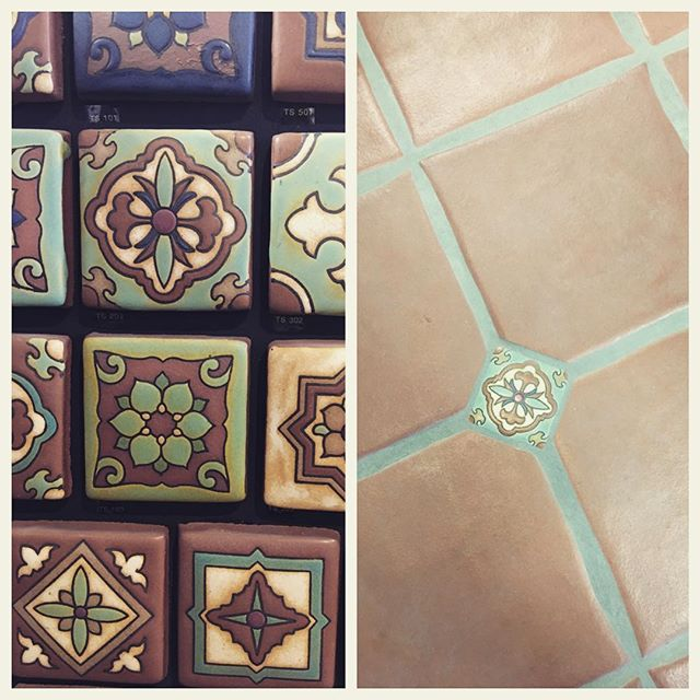 "Spice up any terra cotta floor with ""dotting in"" these beautiful Terra Stone Deco tiles! Find this display on one of our floor pads in our showroom or visit our website for all the available designs! 👍🏻 www.tileencountersventura.com"