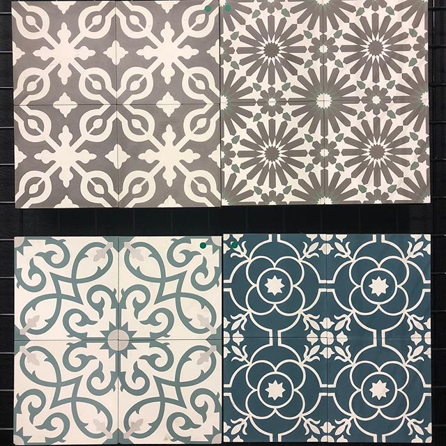 "Patterned tiles are all the craze! They are typically referred to as Encaustic Cement tiles. The term encaustic means ""to heat or burn in."" Traditional encaustic tiles are made using clay and powdered glazes, that are fired in a kiln. The firing process heats the clay and powdered colors to seal in the design and create a hard surface. Don't want to use a cement tile for your project? We also carry this style of patterned tile in porcelain and ceramic!"