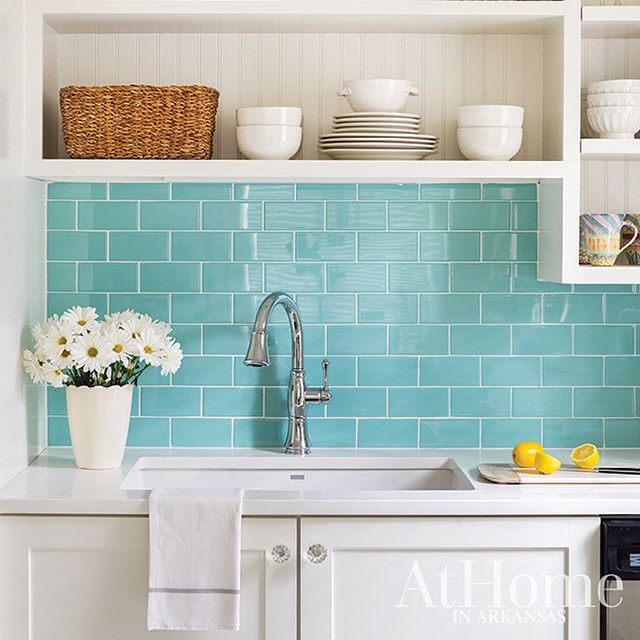 Bring a pop of color into your space with a bright backsplash!