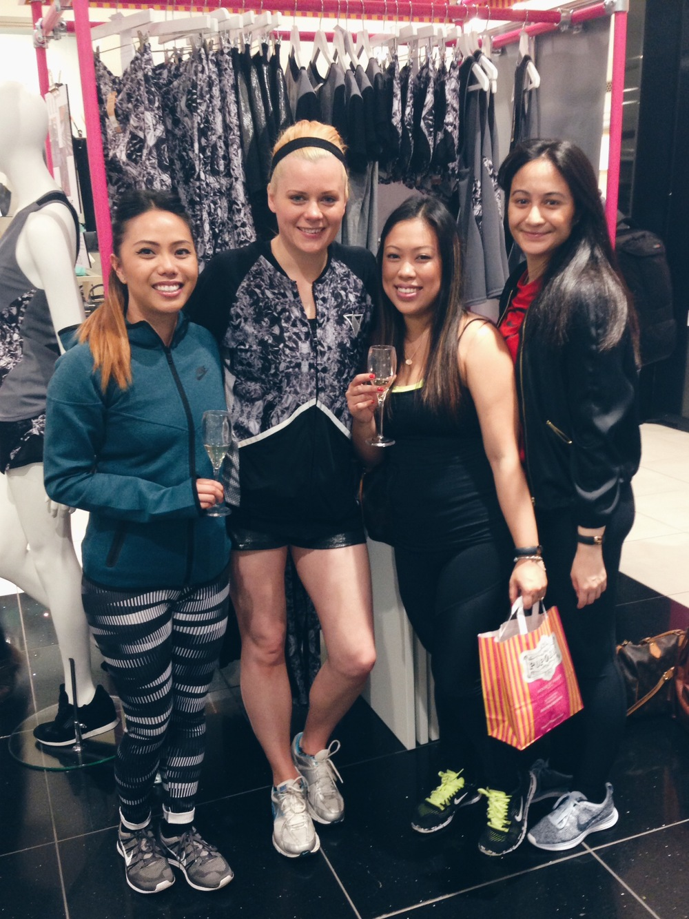 3/4 of fourfits celebrating the success of Lexie Sport with founder, Lily Rice!
