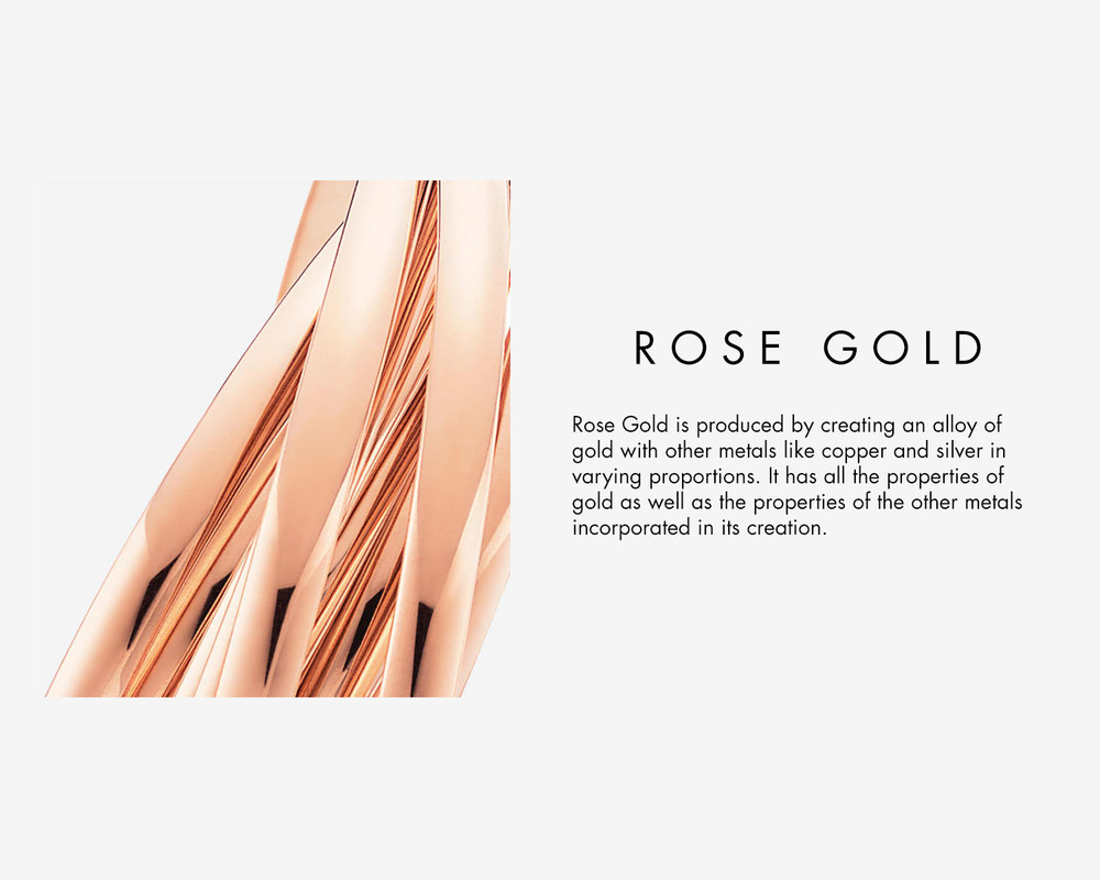 Rose Gold Crystal Properties - Rose Gold is produced by creating an alloy of gold with other metals like copper and silver in varying proportions. It has all the properties of gold as well as the properties of other metals incorporated in its composition.