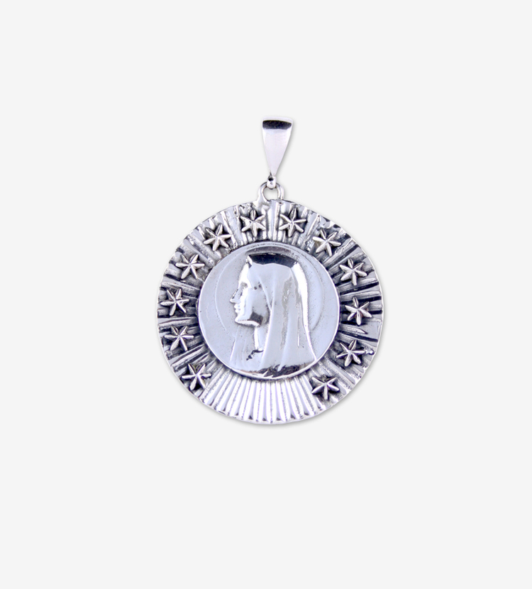 Sterling silver 12 star devotion blessed mary pendant alchemical magic mary pendantg aloadofball Choice Image