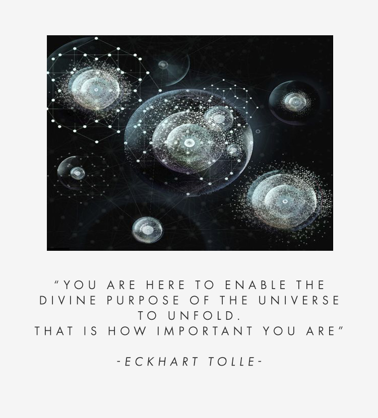 """You are here to enable the divine purpose of the universe to unfold. That is how important you are"" - Eckhart Tolle"