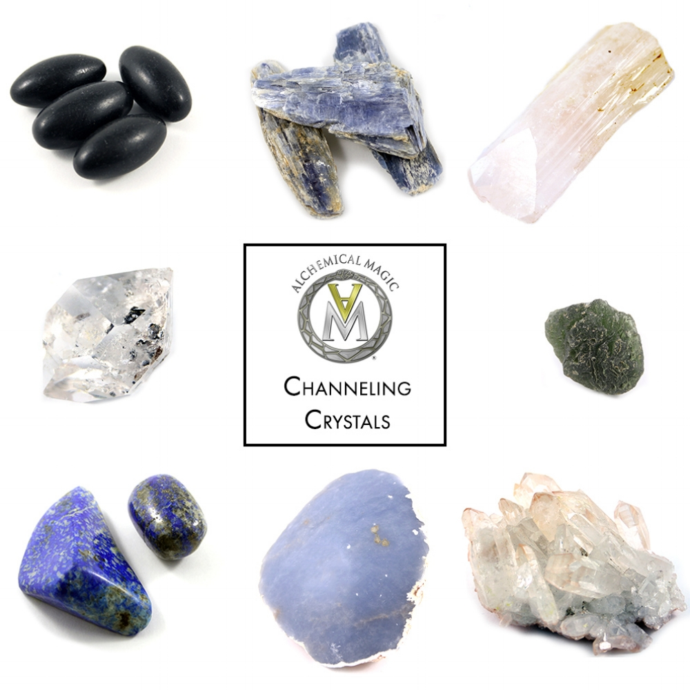 Clockwise from top left:                                                      Black Shiva Lingams, Blue Kyanite, Danburite, Moldavite, Quartz Cluster, Angelite, Lapis Lazuli, Herkimer Diamond
