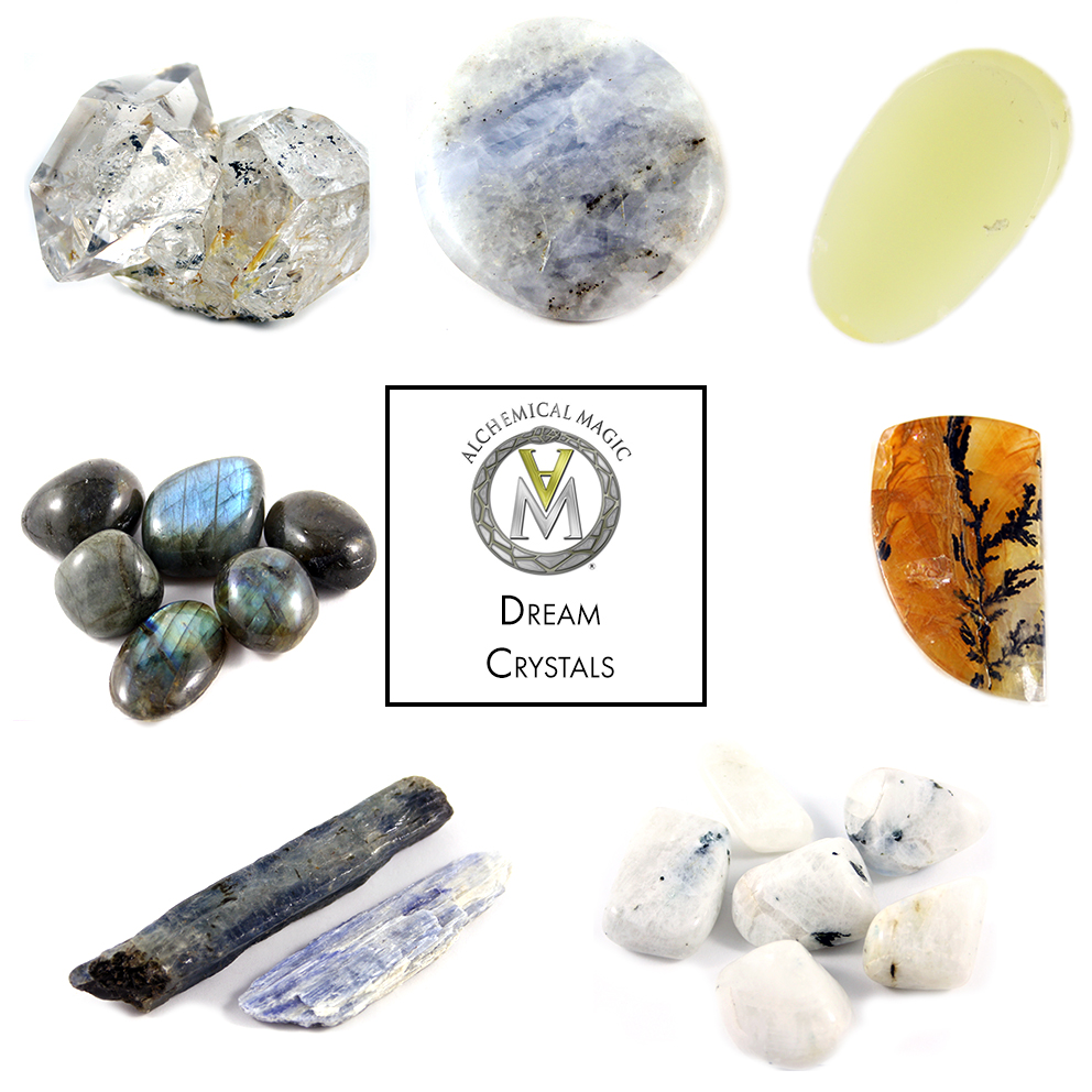 Clockwise from top left:  Herkimer Diamond, Moonstone, Jade, Dendritic Quartz, Moonstone Tumbles, Blue Kyanite, Labradorite Tumbles