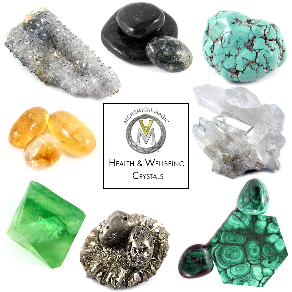 Clockwise from top left:  Apophylite, Healer's Gold, Turquoise, Clear Quartz Cluster, Malachite, Pyrite, Green Flourite, Citrine