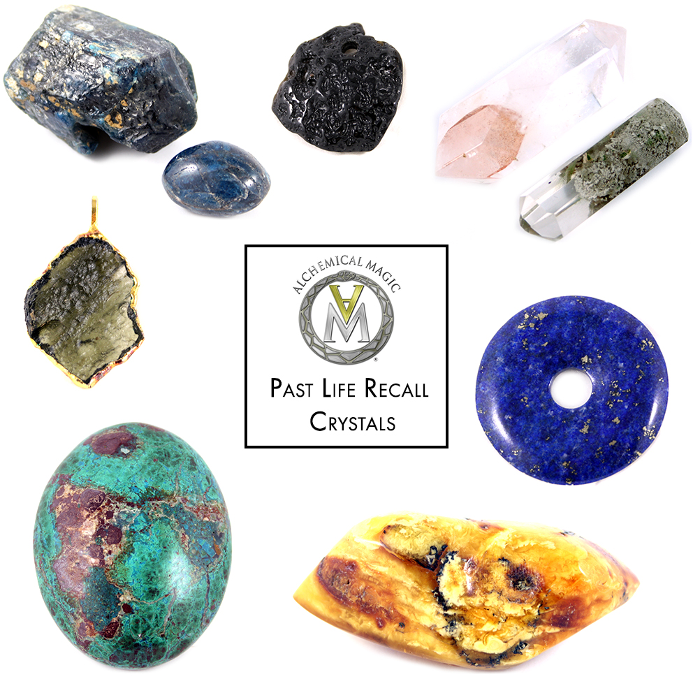 Clockwise from top left:                                                    Apatite, Tektite, Lapis Lazuli, Amber, Chrysocolla, Moldavite