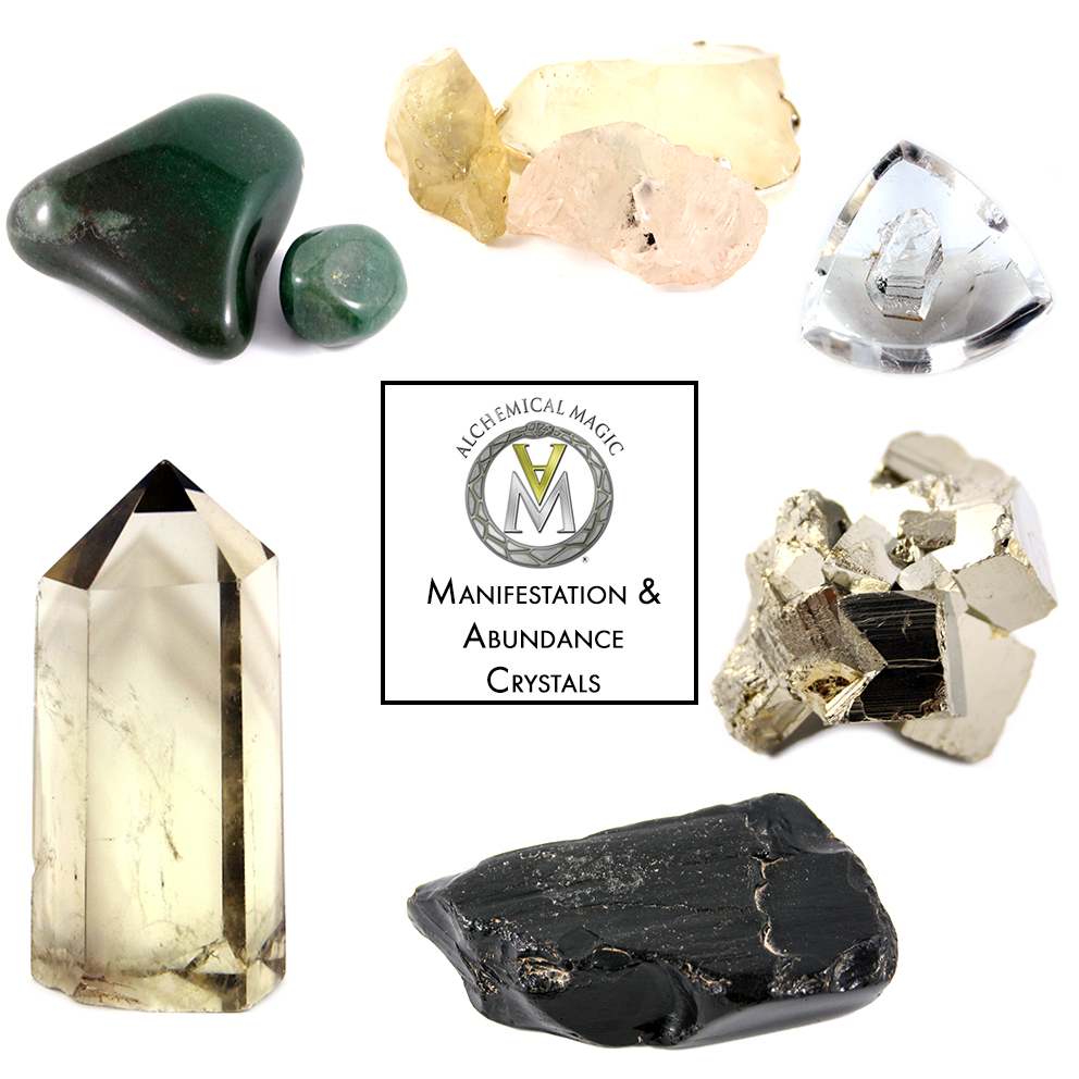 Clockwise from top left:                                                  Aventurine, Libyan Desert Glass, Manifestation Quartz, Pyrite, Jet, Natural Citrine