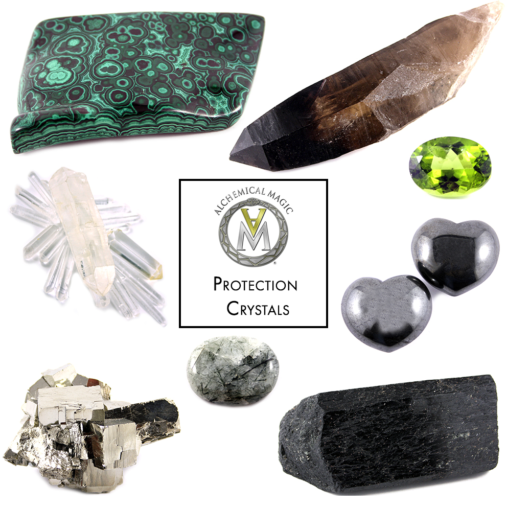 Clockwise from top left:  Malachite, Smoky Quartz, Peridot, Hematite, Black Tourmaline, Tibetan Quartz, Pyrite, Clear Quartz