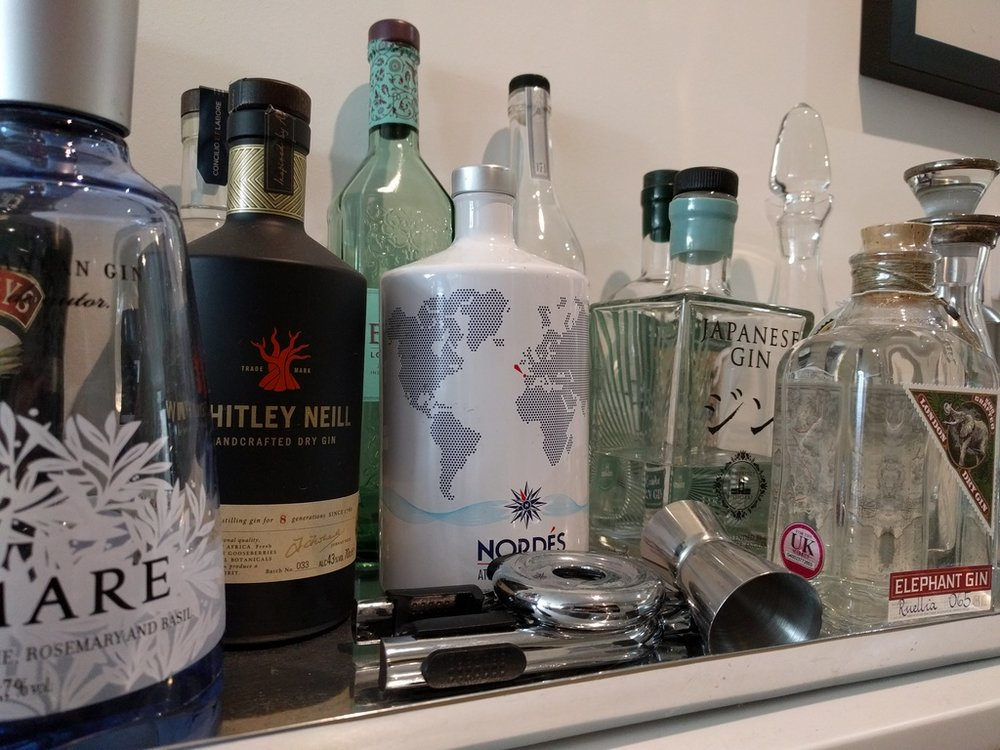 Part of my current gin bar selection.