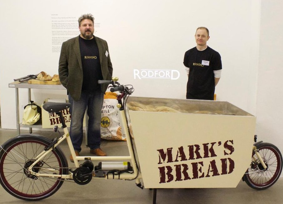 Rob and Steve with their award winning delivery bike at the 2015 Bespoked Constructor's Challenge.