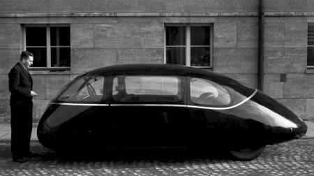 An aerodynamic car.