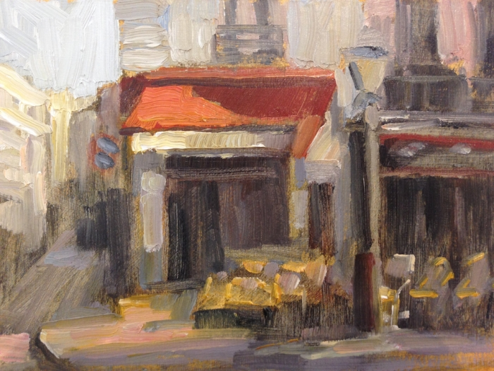 """A Little Paris Cafe"" 6x8 oil . Available at the Principle Gallery"