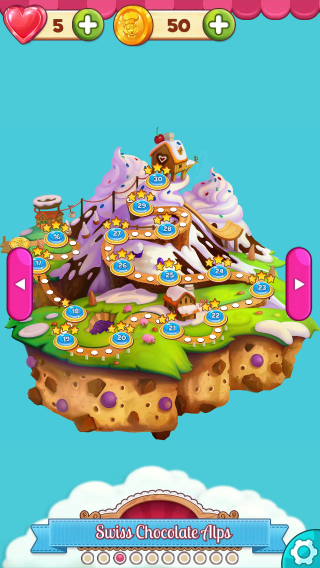 The Swiss Chocolate Alps - one of the worlds in Cookie Jam.