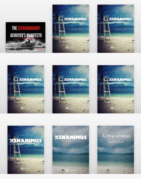 An iBooks screenshot showing some of the Xenanimus' cover's evolution