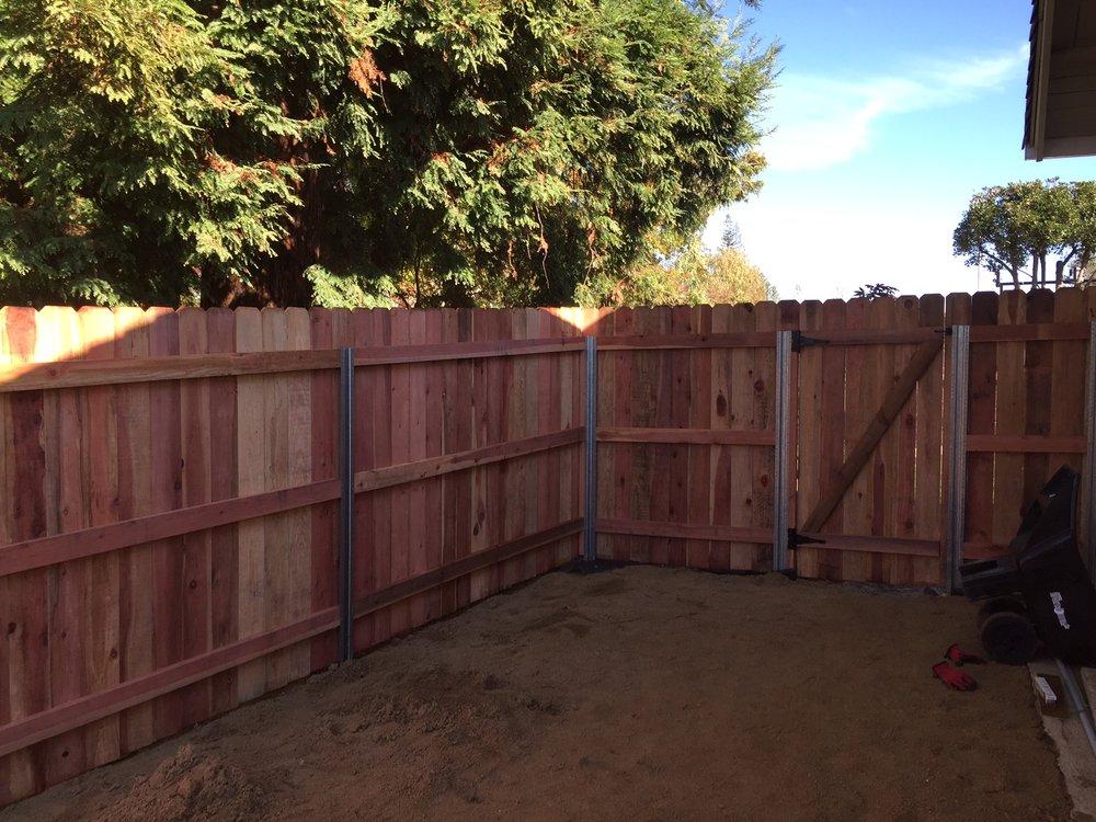 Wood fence, Steel posts.JPG
