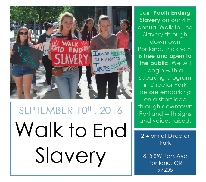 Join YES in this Walk to End Slavery, and come hear Rebecca speak as one of the voices on the panel for this event.