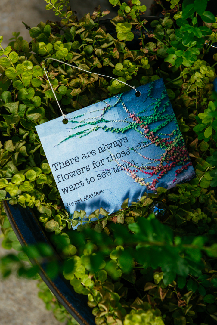 Graphic designer extraordinaire  Ally Mabry  (who happens to be my sister) overlaid this great Matisse quote onto one of my photographs to make these beautiful hanging cards, which I handed out at the show. Ally also designs the magazine-style books like the one in the previous photo.