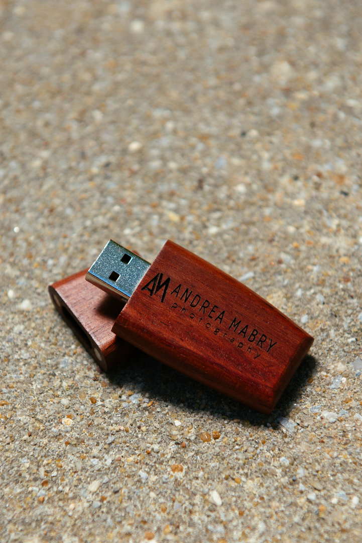 All of my wedding photography packages include high resolution edited files, which are delivered on these rosewood USB drives.