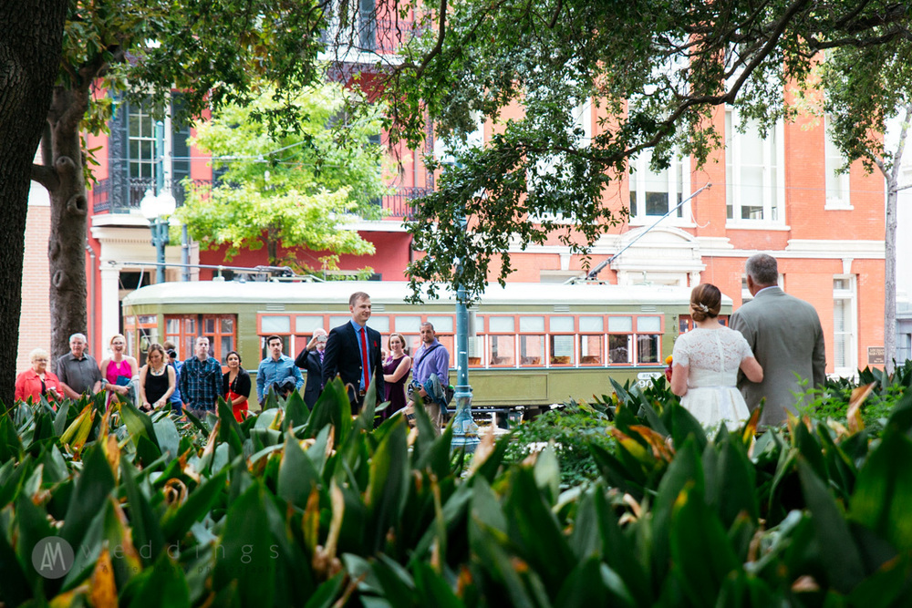 Corbie and her father walk through Lafayette Square to meet Brian and the rest of the wedding party before boarding the New Orleans streetcar.