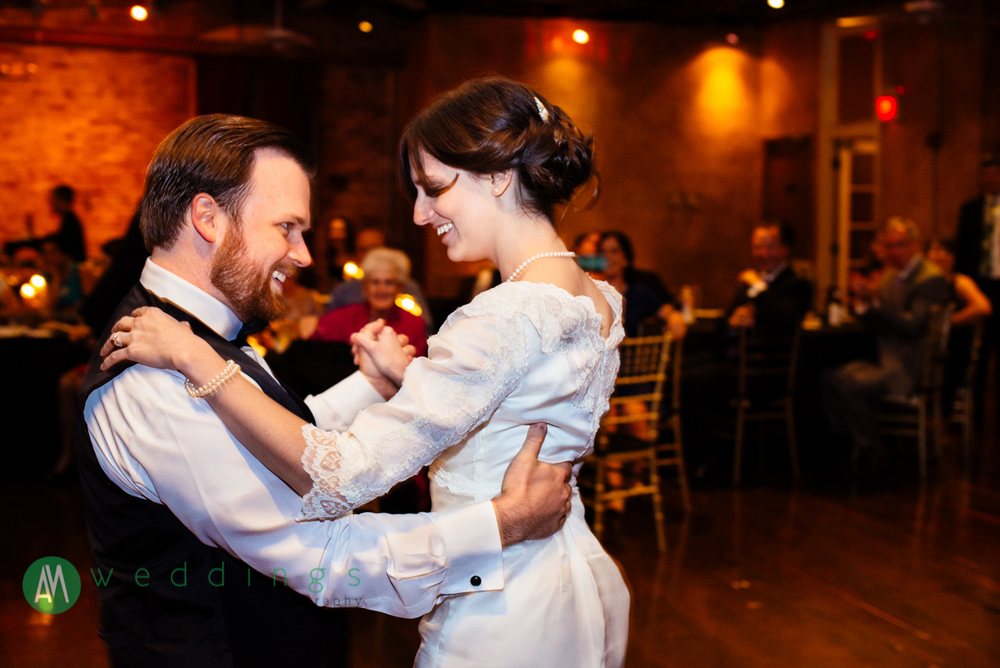 First dance during the wedding reception at the New Orleans Wax Museum.
