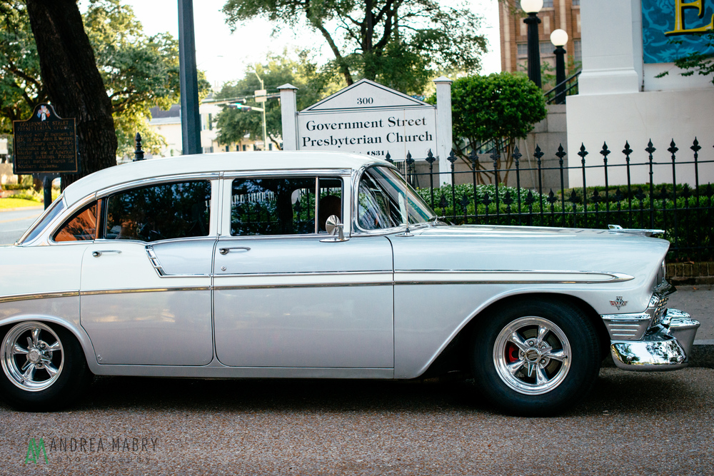 Chevrolet Bel Air.   Government Street Presbyterian Church Mobile Wedding. Andrea Mabry Photography.