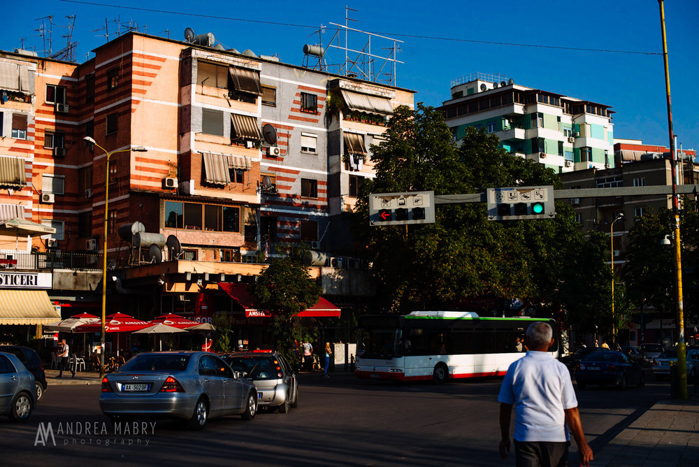 Tirana is filled with communist-era concrete buildings, many of which were painted bright colors during Edi Rama's tenure as mayor from 2000-2011.