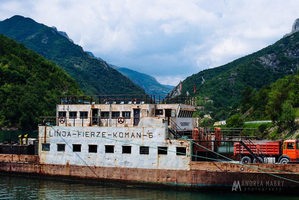 The old ferry, denoting its stops: Linja, Fierze, Koman.