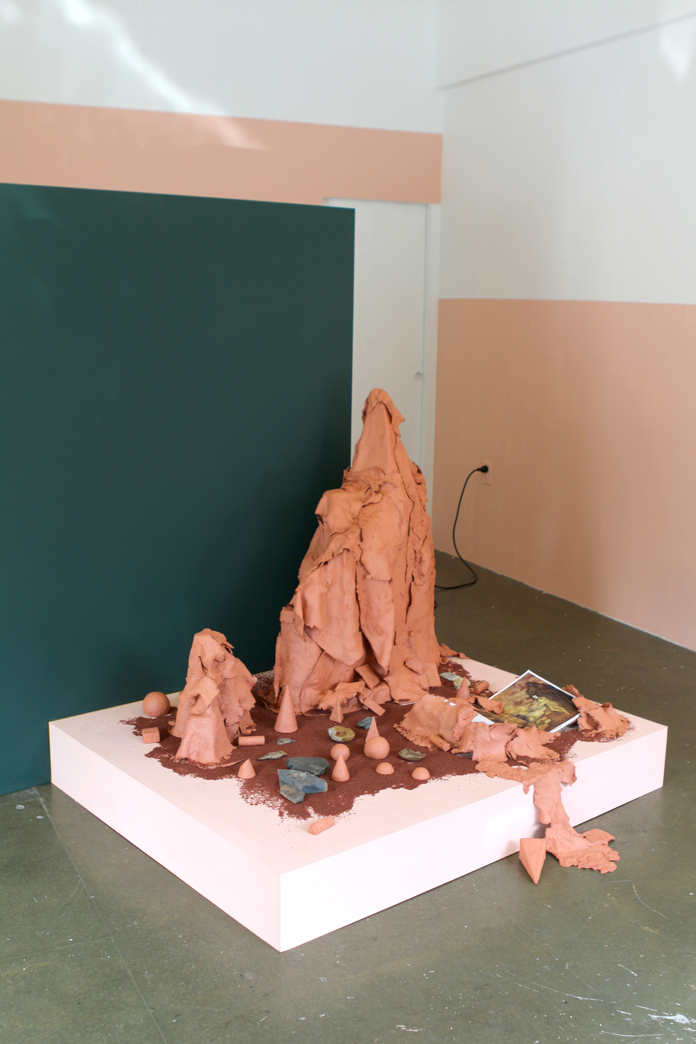 terra-cotta clay, book, fossils  70 x 70 x 70 inches
