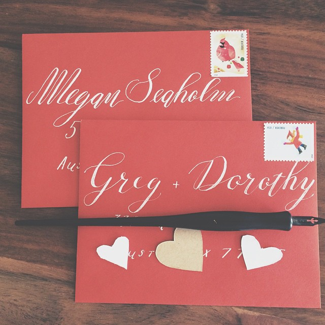 It's never too late for a handwritten card. #moderncalligraphy #calligraphy #whiteonred #istilllovecalligraphy #calligraphyenvelopes #handmadecards