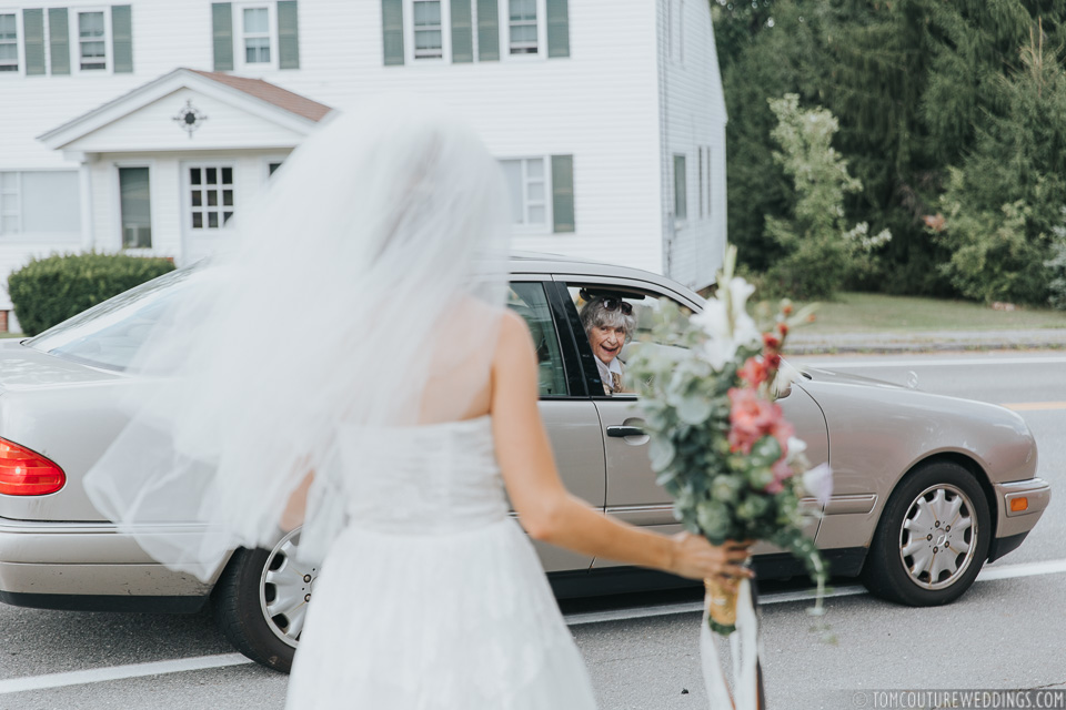 The moment Hannah's Grandmother drove by and saw her wearing the very same dress she got married in back in 1954...She kept saying how she couldn't wait to show her dentist the photos; Adorable!