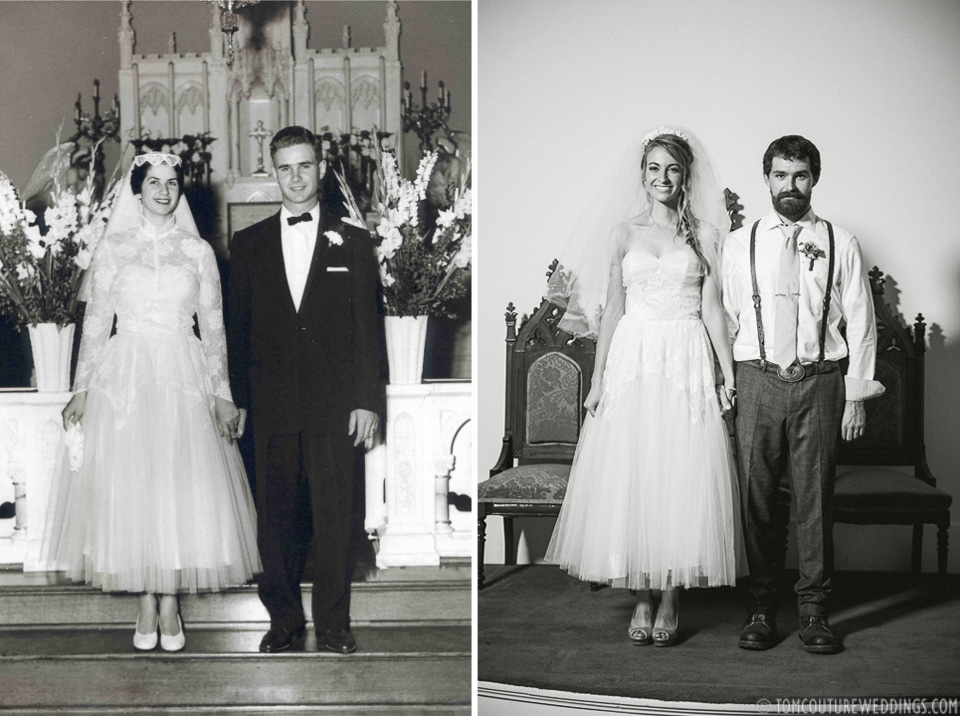 Couldn't help but composite a photograph of Hannah's Grandparents (from 1954) next to them as newlyweds 62 years later!