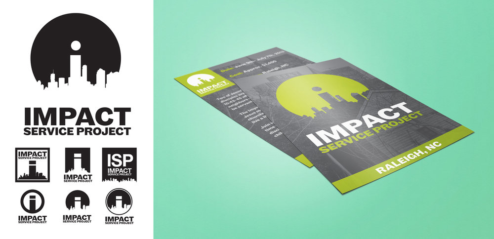 Logo Design + Flyer designed to promote the Impact Service Project, a program that serves urban communities in Raleigh, NC